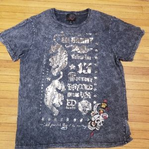 ED Hardy T Shirt with tiger, skull, sword